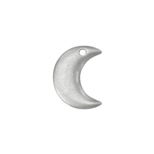 Matte Silver Plated Moon, 7/8 x 5/8""