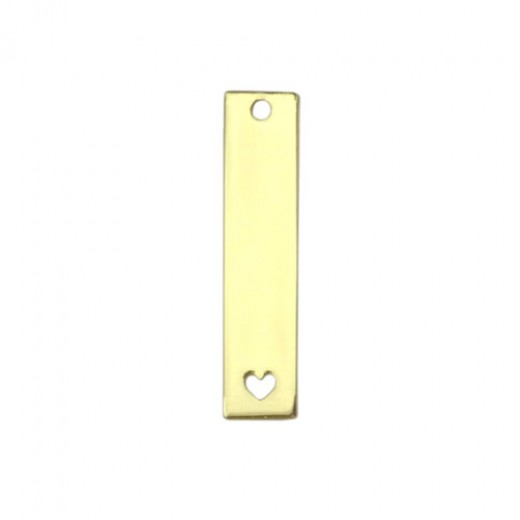 """Gold Plated Rectangle with Heart, 1 3/8 x 1/2"""""""