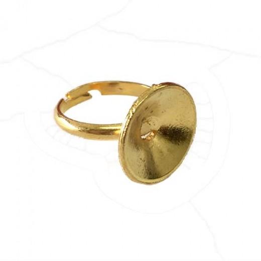 Pack of 4 Ring Bezels for 18mm Rivoli, Brass/Gold colour