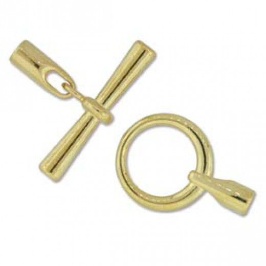Bulk Bag, Large Glue-in Toggle Clasps, I.D 3.2mm, Gold, Pack of 12
