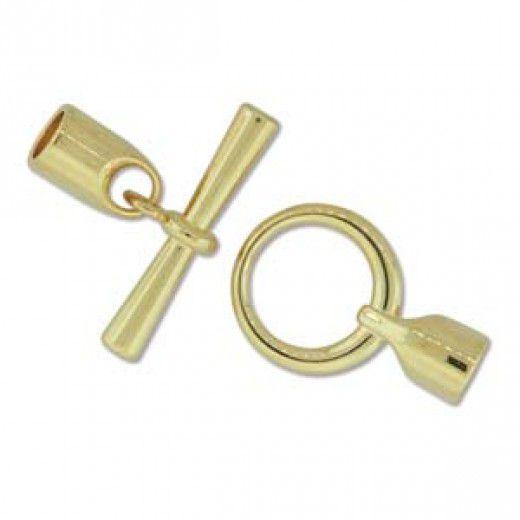 Bulk Bag, Large Glue-in Toggle Clasps, I.D 6.2mm, Gold, Pack of 12