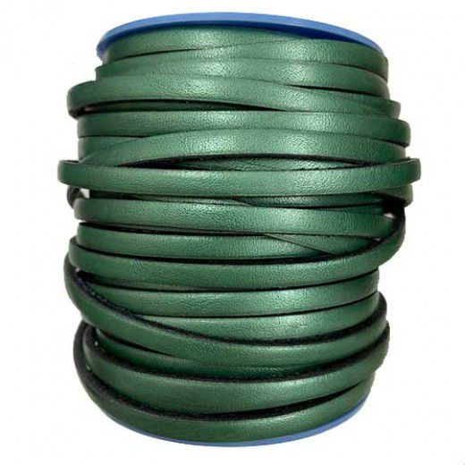 Metallic Emerald Flat Leather 5mm, 1m Length