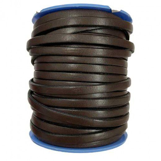 Dark Brown Flat Leather 5mm, 1m Length