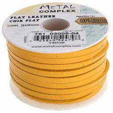 Yellow Flat Leather 5x2mm by the metre (maximum 5m)