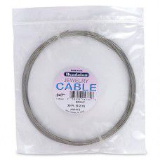 Stainless Steel Jewellery Cable, 1.19 mm, Bright, 30 ft