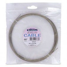 Stainless Steel Jewellery Cable, 1.58 mm, Bright, 30 ft Length