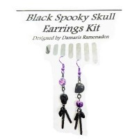 Quick Kits - Black Spooky Skull Earrings Kit