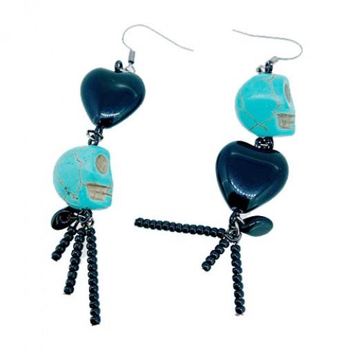 Quick Kits - Blue Spooky Skull Earrings Kit