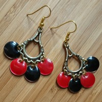 Quick Kits - Fiesta Enamel Circle Charm Earrings Kit - Red & Black