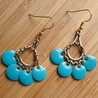 Quick Kits - Fiesta Enamel Circle Charm Earrings Kit - Turquoise Blue