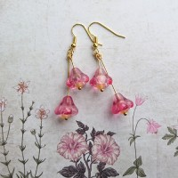 Quick Kits - Bell Flower Drop Earrings Kit - Rose Pink