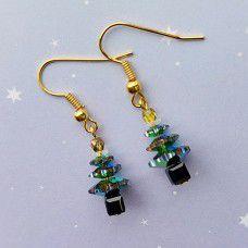 Swarovski Vitrail Christmas Tree Earring Kits - Gold