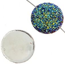 Fashion Components - Resin Sew-on-Sugar Stone Round - 34mm Medium Vitrail - 10Pc...