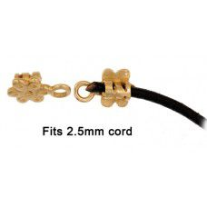Crimp Ends With Flower, 3mm Hole - Brass, Pack of 4