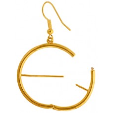 Round Interchangeable Gold Earrings, 1 Pair
