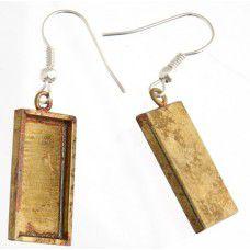 100% Antique Gold Handmade Bezel, Earrings, 21 x 11 x 2mm