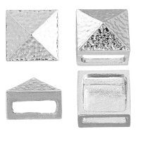 10 x 13mm Silver Square Hammered Slider, 2 Pcs
