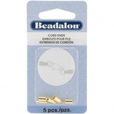 Beadalon - 2.7mm Heavy Gold Cord ends- 5pcs per pack - 304A-005