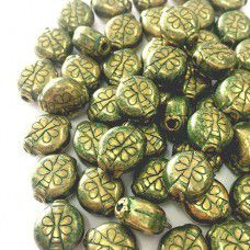 12mm Bug Green Patina Brass Bead, pack of 4.