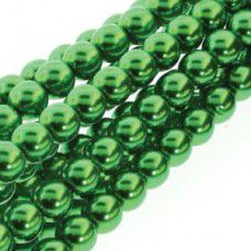 Christmas Green 6mm Round Glass Pearls - approx 75 pearls - PRL06-70054