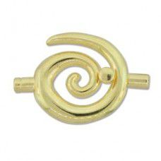 Small Swirl Glue-in Toggle, I.D 3.2mm, Gold, Pack of 2