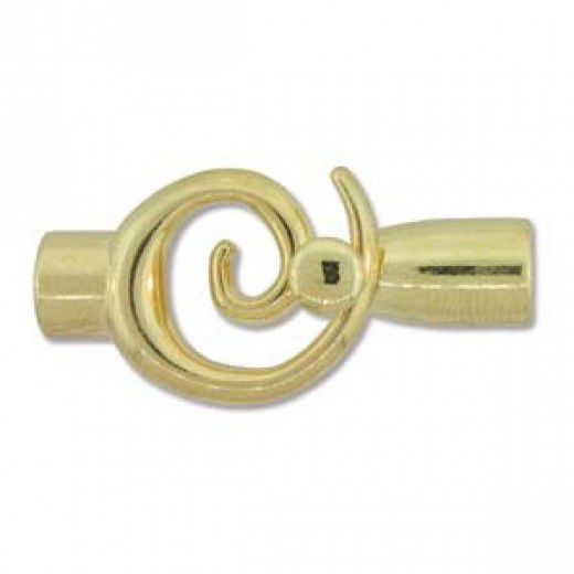 Small Glue In Toggle Swirl - W/6.2mm - Gold Plated - 2 Pairs - (4 pieces)