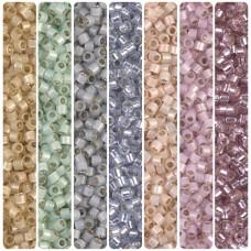 Miyuki 11/0 Delica Soft Vintage Pastel Silverlined Bundle