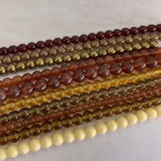 Autumnal Round Bead Mix, 10 Strands in a Mix of Sizes