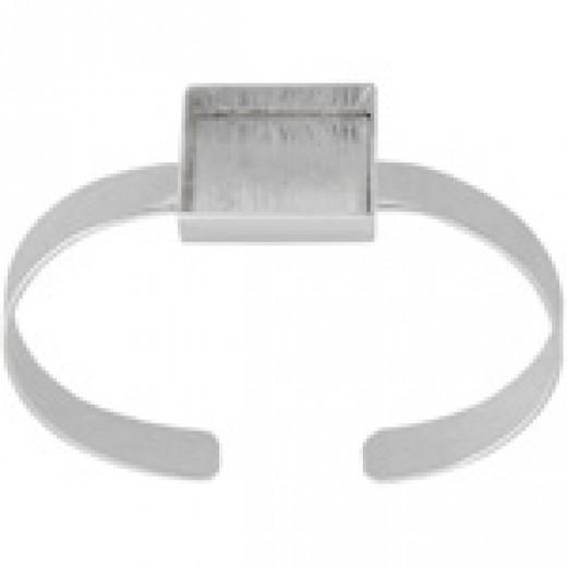 Silver Bezel Handmade Bracelet Cuff Square 21x4mm