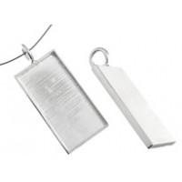 Silver Large Handmade Bezel, Rectangle Pendant, 32 x 19mm