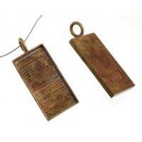 100% Antique Brass Large Handmade Bezel, Rectangle Pendant, 32 x 11mm