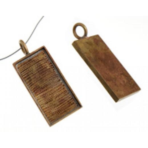 100% Antique Brass Large Handmade Bezel, Rectangle Pendant, 32 x 11mm