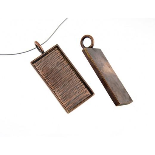 100% Antique Copper Large Handmade Bezel, Rectangle Pendant, 42 x 21mm