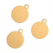 24ga Brass Circle, 10mm with Ring, Pack of 4