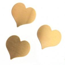 24ga Brass Heart, 22mm, Pack of 2