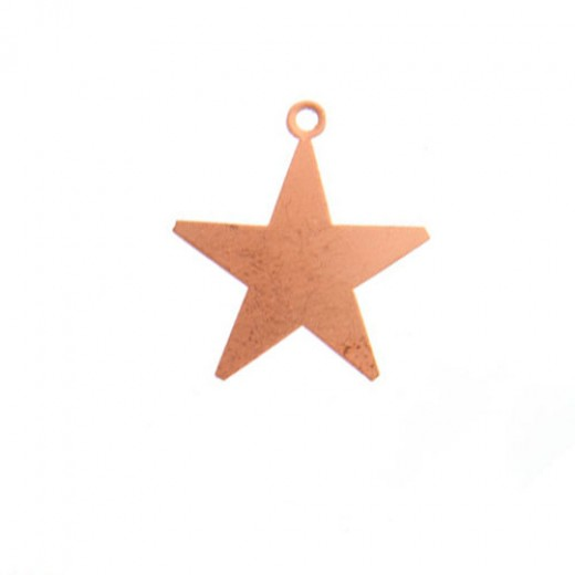 """ImpressArt 24ga Copper Star with Ring, 7/8"""", Pack of 4"""