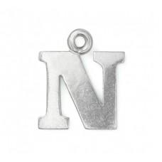 "Letter Charm N, Pewter, 3/4"" (19mm)"