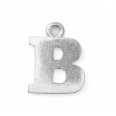 "Letter Charm B, Pewter, 3/4"" (19mm)"