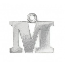 """Letter Charm M, Pewter, 3/4"""" (19mm)"""