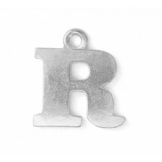 """Letter Charm R, Pewter, 3/4"""" (19mm)"""