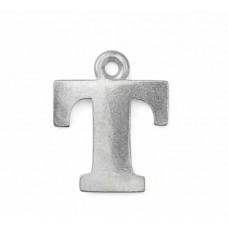 """Letter Charm T, Pewter, 3/4"""" (19mm)"""
