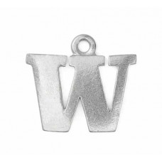 """Letter Charm W, Pewter, 3/4"""" (19mm)"""