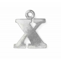 """Letter Charm X, Pewter, 3/4"""" (19mm)"""