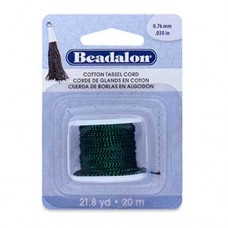 Metallic Green on Black Cotton Tassel Cord, 20m reel