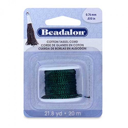 Metallic Green on Black Cotton Tassel Cord, 20m reel