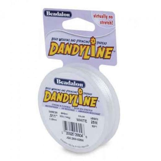 Dandyline 0.13mm Diameter Thread in White, 100M