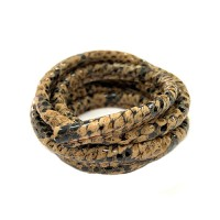 5 x 10mm Nappa Leather, Brown Snakeskin, 1 Metre