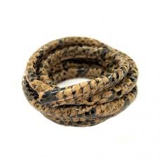 5 x 10mm Nappa Leather, Brown Snakeskin, 1 Metre