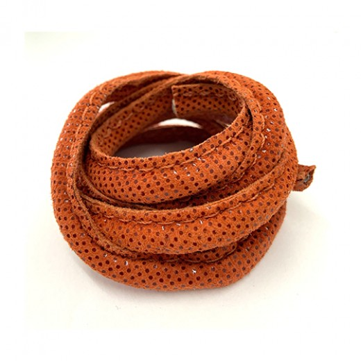 5 x 10mm Nappa Leather, Orange Snakeskin, 1 Metre