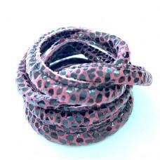 5 x 10mm Nappa Leather, Purple Snakeskin, 1 Metre